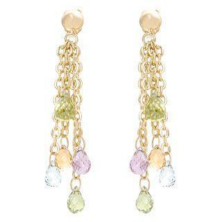 Image For 18K Yellow Gold Dangling Colorstones Earrings