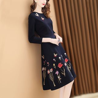 Image of 3/4-Sleeve Flower Embroidered Midi A-Line Dress