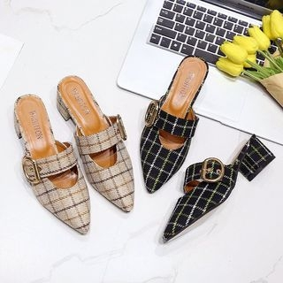Plaid Buckled Pointed Slide Flats 1066200026
