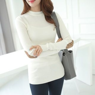 Mock-Neck Elbow-Patch Ribbed T-Shirt 1057518844