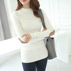 Mock-Neck Elbow-Patch Ribbed T-Shirt 1596