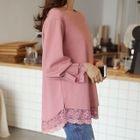 Pleat-Sleeve Lace-Trim Top 1596