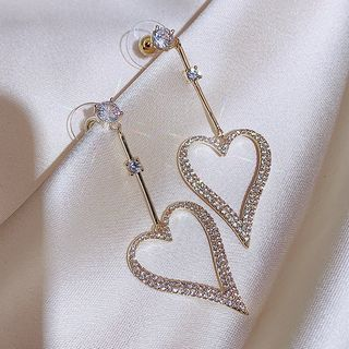 Rhinestone   Earring   Dangle   Heart   Love   Size   One