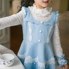 Kids Crochet Trim Lace Panel Long Sleeve Dress 1596