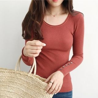 Long-Sleeve Ribbed Knit Top 1061388391
