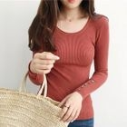 Long-Sleeve Ribbed Knit Top 1596