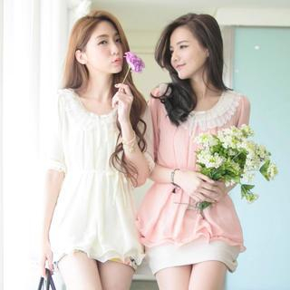 Elbow-Sleeve Frilled-Collar Chiffon Top