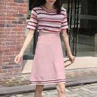 Set: Stripe Short-Sleeve Knit Sweater + Mini Skirt 1596