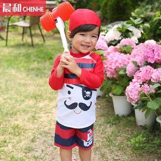 Kids Set: Print Swim Shirt + Swim Trunks + Swim Cap 1050605888