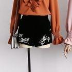Plum Blossom-Embroidered Velvet Shorts 1596