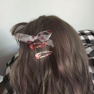 Image of Cherry Print Mesh Bow Hair Clip / Set of 6: Printed Hair Clip