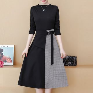 Image of Asymmetric Long-Sleeve Midi A-Line Dress