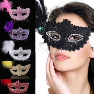 Feather-Accent Lace Mask