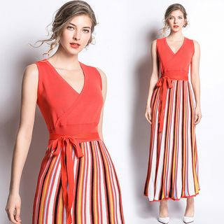 Sleeveless | Orange | Stripe | Dress | Size | Red | One