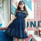 Set: Star Print Strappy Dress + Sheer Lace Short-Sleeve Dress 1596