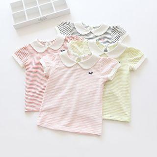 T-Shirt   Collar   Stripe   Sleeve   Short   Kid