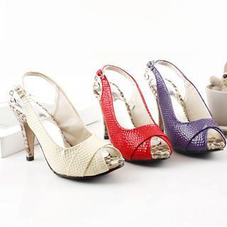 Buy KAWO Snake Print Slingback Platform Heels 1022902760