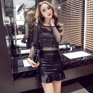 Long-sleeve | Leather | Strap | Skirt | Faux | Lace | Mini | Top