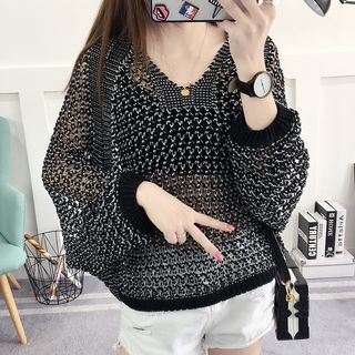 Loose Knit V-Neck Sweater
