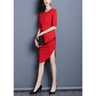 Elbow-Sleeve Asymmetric Sheath Dress 1596