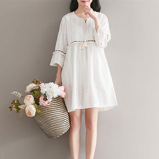 3/4-Sleeve Tie Neck A-line Dress 1059479806