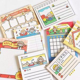Image of Cartoon Print Memo Pad Set of 16 - Multicolour - One Size
