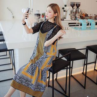 Spaghetti-Strap Pattern A-Line Dress 1058071455