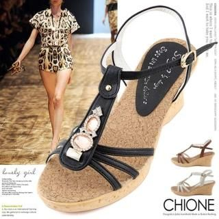 Buy Chione Bejeweled T-Strap Wedge Sandals 1022765397