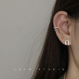 Rhinestone | Horseshoe | Sterling | Earring | Silver | Size | One