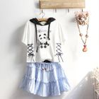 Printed Hooded Lace-Up Short-Sleeve T-Shirt / Ruffled Mini A-Line Dress / Set: Printed Hooded Lace-Up Short-Sleeve T-Shirt + Ruffled Mini A-Line Dress 1596