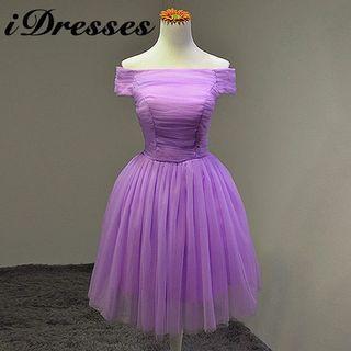 Off-shoulder Ruched Bridesmaid Dress