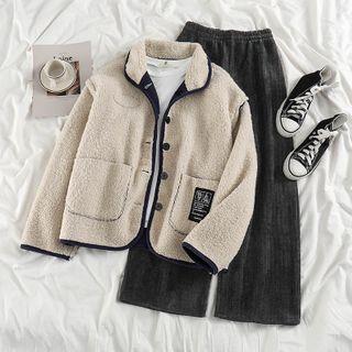 Reversible Fleece-lined Button Jacket / Wide Leg Pants