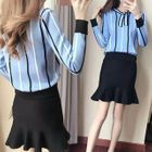Set: Long-Sleeve Striped Knit Top + Mini Fitted Skirt 1596