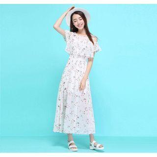 Cut Out Shoulder Short Sleeve Chiffon Maxi Dress 1050919788