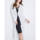 Slit-Side Ribbed Long Cardigan 1596
