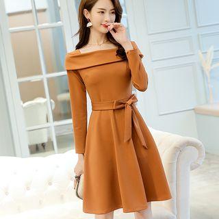 Tie-Waist Long-Sleeve A-Line Dress 1064472817