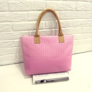 Woven Faux Leather Tote 1063338427