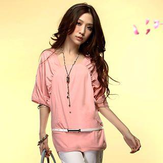 Buy Tokyo Fashion Ruched-Sleeve Rhinestone Long Top 1022550593