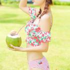 Set: Floral Print Cropped Tankini Top + Fruit Print Swim Bottom + Swim Skirt 1596