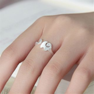 Elephant Sterling Silver Open Ring Silver - One Size
