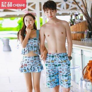 couple-matching-frilled-swimdress-swim-trunks