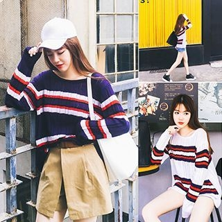 Striped Ribbed Sweater 1053121743