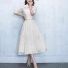 Lace Panel Elbow-Sleeve Evening Dress 1596