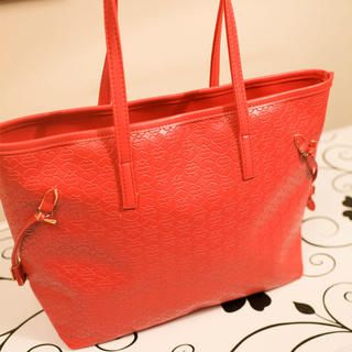 Faux-Leather Embossed Tote