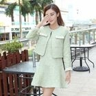 Set: Melange Faux Pearl Cropped Coat + Sleeveless Mini Dress 1596