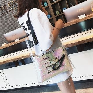 Lettering Transparent Tote Bag 1066171817