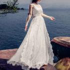 Lace Trim Sleeveless Chiffon Maxi Dress 1596