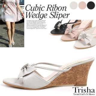 Buy Trisha Bejeweled Bow-Accent Wedge Sandals 1022847563