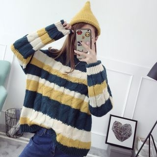 Ribbed Stripe Knit Top 1056435933