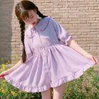Frill Trim Short-Sleeve Chiffon Dress 1596